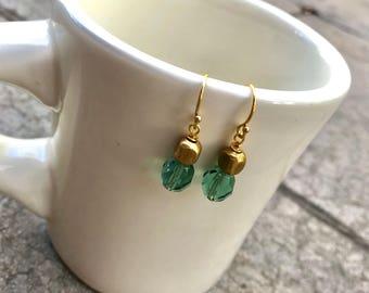 Czech Glass & Brass Earrings