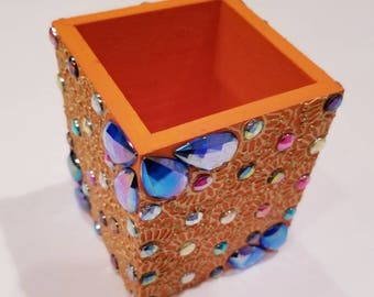 Orange and Blue Brush Holder
