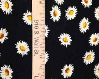 Daisies on Black Cotton Lycra Knit Fabric