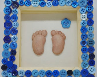 Baby shower, baby footprints, baby feet, button frame