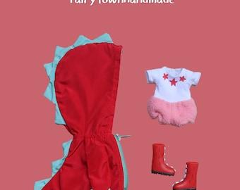 FairyTown Handmade  little 【red】dinosaur raincoat suit for Holala【preorder】