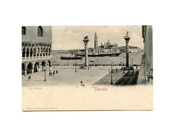 1890/1900 - postcard - Italy - Venice - the Holy Place piazetta Marc - gondolas - Italian postcard