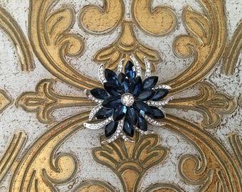 Navy Rhinestone Brooch.Navy Blue Flower Brooch.Navy Crystal Brooch.art deco brooch.pin.wedding accessory.vintage style.navy broach.silver