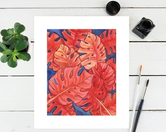 "8"" × 10"" Orange Monstera Leaves Tropical Fine Art Paper Giclee Print"