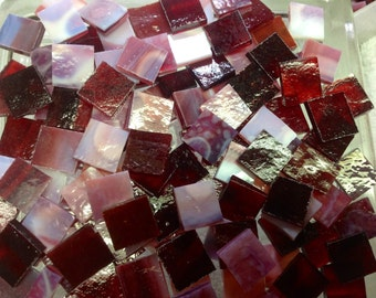 50 RED & RED MOTTLED -- Stained Glass Mosaic Tile Supply A11