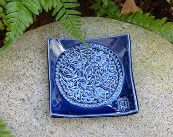 Porcelain small blue dish