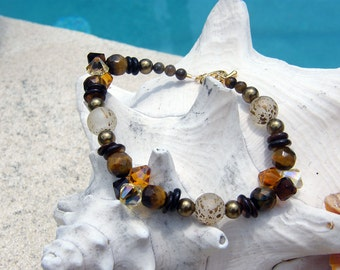 Beaded Bracelet - Caramels and Chocolate
