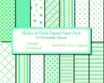 Mint Green Digital Paper, 14 Printable Designs, Scrapbooking, Card Making, Instant Download