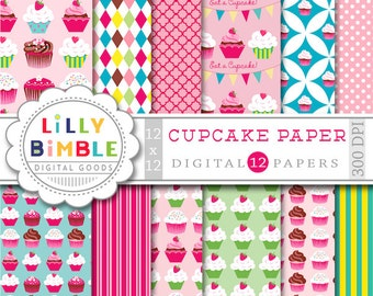 Cupcake Digital scrapbook papers for birthday invites, toppers, cupcake paper, Instant Download