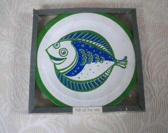 Vintage Home Serving NOS Paper Plates Fish Plates M.A. Hadley Artist Plates