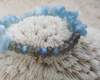 Labradorite and Aquamarine stretch bracelet