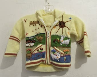 An ADORABLE,Little Boys,Vintage 70's,Zip Front HOODIE Sweater With Embroidered FARM Scenery.S