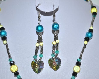 green, blue and silver crystal heart earrings