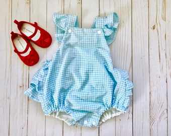 Dorothy Baby Costume , Ruffled Baby Girl Romper, Oz Costume