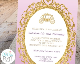 Princess Carriage Party Printable Invitation, 5x7in - Lilac/Mauve and Gold - Double-Sided - Instant Download - Girls Birthday Parties