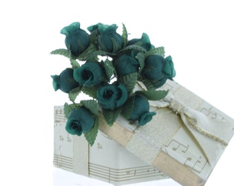 Small Green Rose Bud Bunches/ Fabric Flowers/ Wired Flowers