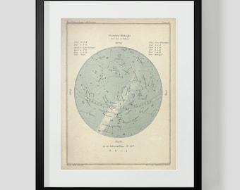 December Constellation Star Chart Popular Guide to the Heavens Art Print 50