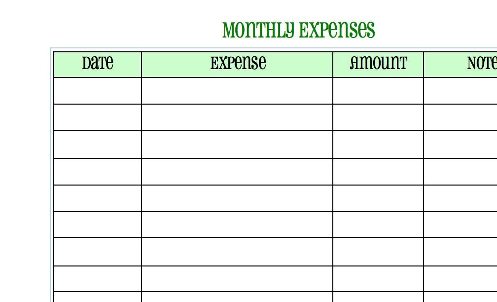 blank expense sheet