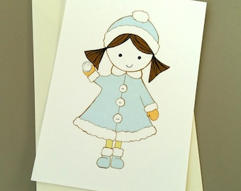 Snowy Dolly - Notecard - Greeting Card - little girl blue and white