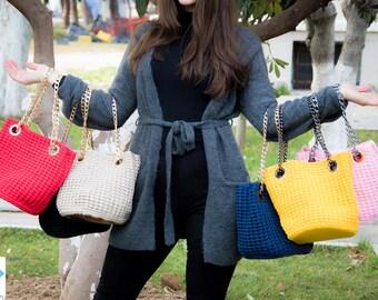 crochet leather handmade bucket bag