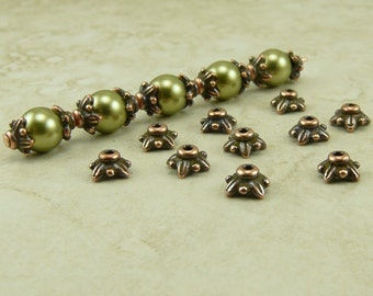 20 TierraCast 5mm Small Leaf Bead Caps > Ornate Star - Copper Plated Lead Free Pewter - I ship Internationally 5570