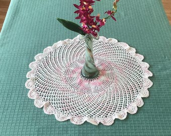 Vintage Crocheted Doily, Pink And White  Crochet Doily, Doily Table Centerpiece, Vintage Doily Centerpiece, Doilies, Crochet Doily