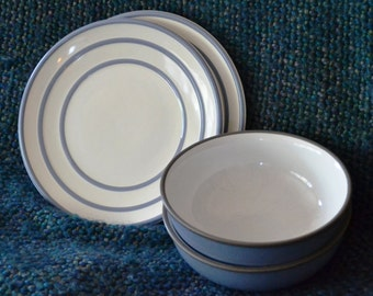 PFALTZGRAFF, MYSTIC dinnerware, soft blue and white, 2 salad, 2 soup/cereal bowls ( 4 in all/)  Owned never used !