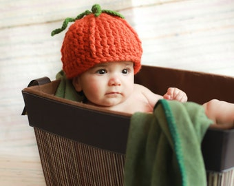 Pumpkin Hat, Baby pumpkin hat, Newborn Pumpkin Hat, Toddler Pumpkin hat, Halloween costume, Baby Halloween costume, Toddler hat
