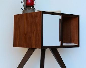 Mid Century Modern Bedside Table/ Walnut Wood Nightstand/ Custom Made/ Handmade