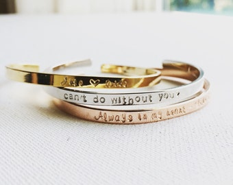 Personalized Cuff Bracelet, Engraved Bangle, Custom Cuff Bracelet, Inspirational Cuff Bracelet, Personalized Wedding