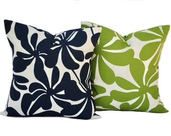 Two Outdoor pillow covers, cushion, decorative throw pillow, decorative pillow, accent pillow, Green pillow, Navy Pillow