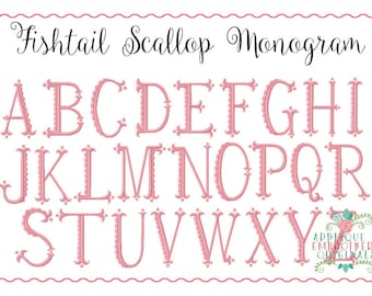 Applique and Embroidery Originals Digital Design- 262 Fishtail Scallop Monogram Embroidery Font Design for embroidery machine bx pes dst jef