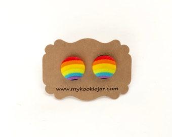 Rainbow Stud Earrings, Rainbow Stripe Fabric Covered Button Earrings, Gay Pride Earrings, LGBT Earrings, LGBT Jewelry, Nickel-free Earrings