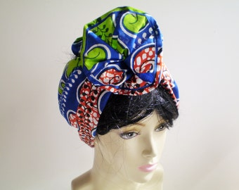 African Blue Red Green Head Wrap, African Head Scarf, Blue Red African Head Wrap, Blue Green African Head Wrap