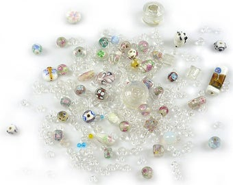Mix of glass beads, Italian style ± 7-34mm (± 50 gram)