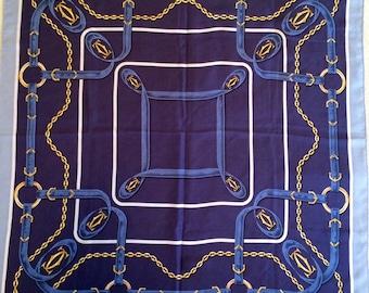 Vintage Must de Cartier Paris Silk Scarf with Chain and Cartier Logos Design - 1980s