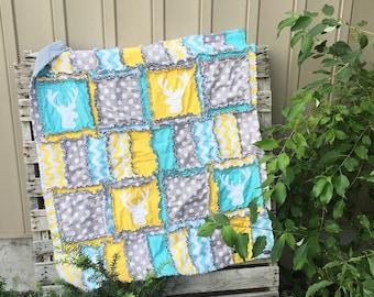 Deer Baby Blanket - Yellow / Gray / Turquoise Comforter - Hunting Nursery Boy Quilt - Nursery Quilt - Adventure Blanket- Gender Neutral Baby
