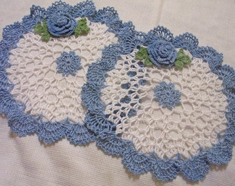 2 rocheted rose doily delf blue and white set  handmade