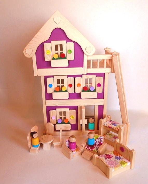 Wooden Peg Doll House Wood Toy Dollhouse Furniture Handmade