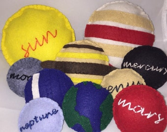 Solar System - Montessori Hand Sewn Felt Planet Set - Outer Space - Learning - Hands-On Learning - Felt Planet - Science - eco blend wool