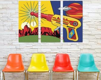 Toy Laser Gun X-11 & UFO Triptych Metal Wall Art