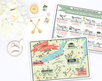 Custom Wedding MAP-Any Location Available-Boston MA Map-Boston Wedding, Destination Wedding- Wedding Itinerary, Directions, out of town bags