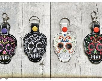 Leatherette Sugar Skull, Day of the Dead, Dia de Muertos Keychain, Keyring, Bag Charm, Mexican Skull