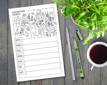 Weekly Meal Planner Printable, Color Yourself, Fruit Illustrations, Meal Planning, Grocery List, Adult Coloring