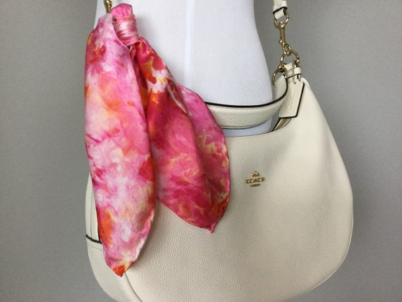 "16"" Silk Purse Scarf or Luggage Identifer, 100% Silk Satin,  Ice Dye Tie Dye Summer Pink Orange Popsicle Creamsicle Purse Scarves #218"
