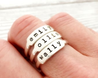Name Ring. Custom with child name, kids names, personalized stacking ring, gift for her birthday, mom, mother ring, sterling silver