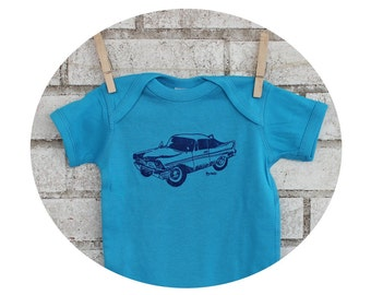 Car Baby Onepiece, Hand Printed Short Sleeved Baby Bodysuit, One Piece Romper With Classic Automobile, Baby Boy, Bright Turquoise Blue shirt