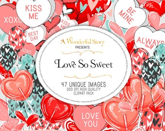 Valentine's Day Candy Hearts Balloons Arrows Lollipops Cute Love Digital Planner Supplies Romantic Design Scrapbook 300 PPI / DPI Clipart