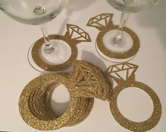 Paper Diamond Ring, Diamond Ring Wine Glass Charm, Engagement party, Wedding, Bridal Shower, Glitter Engagement Ring