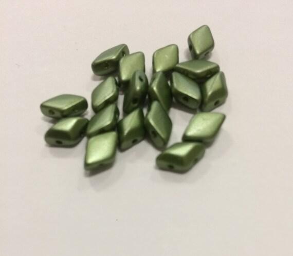 Pastel Olivine 8 x 5mm GemDuo bead Approx 8g